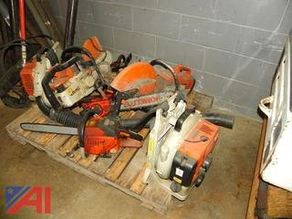 Various Chainsaws and Other Power Tools