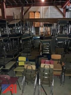 Large Lot of Assorted Elementary Student Desks and Chairs