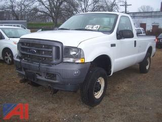 2004 Ford F250 XL Super Duty Pickup Truck with Plow