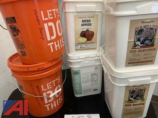 Buckets of Freeze Dried Survival and Camping Food