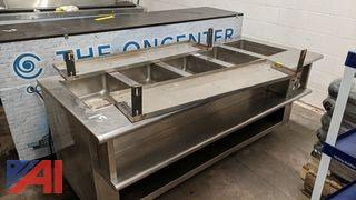 Stainless Steel Electric Steam Table with Shelves