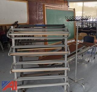 Chorus Risers, Chairs, Paper Roll Rack, Chalkboard