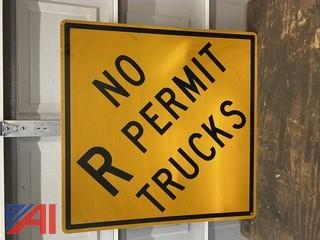 No R Permit Trucks Road Sign