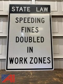 Speeding in Work Zone Road Sign