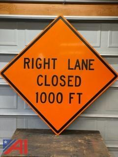 Right Lane Closed 1,000' Road Sign