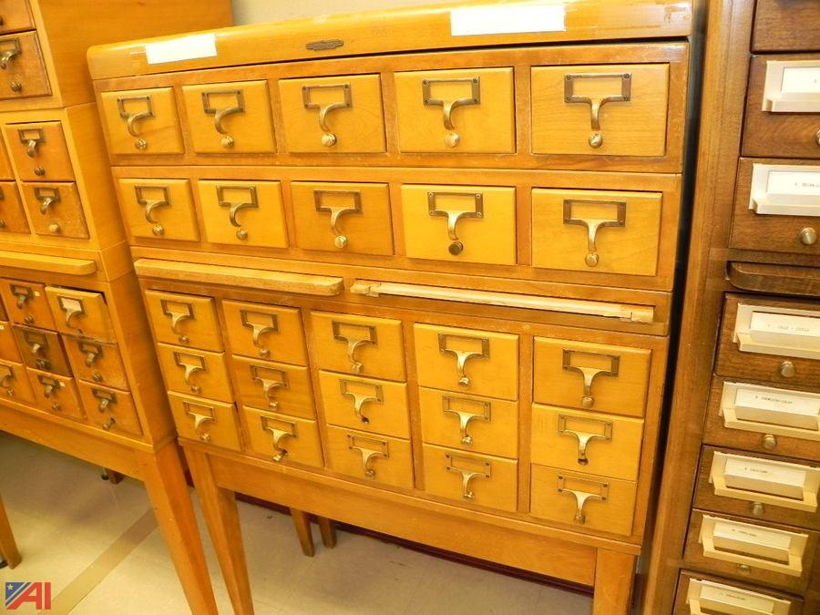 Wooden Library Card Catalog Cabinet. U2039u203a