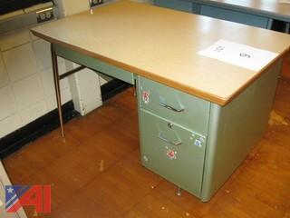 (2) Metal Teacher Desks