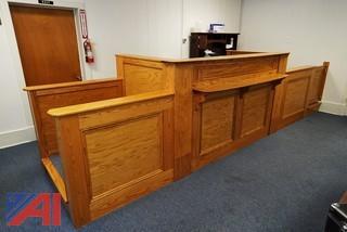 8' Solid Oak Judges Bench Station