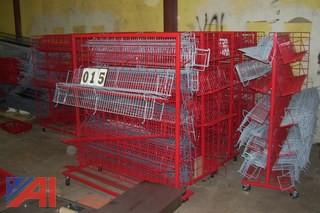 Large Lot of Rolling Wire Shelves