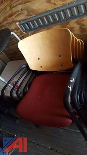 (5) Haworth Wood Back Rolling Office Chairs