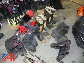 Lot of Leather and Rubber Fire Boots