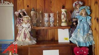 Lot of Porcelain Dolls and More