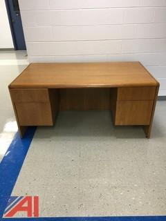 Wood Finish Desk with 4 Drawers