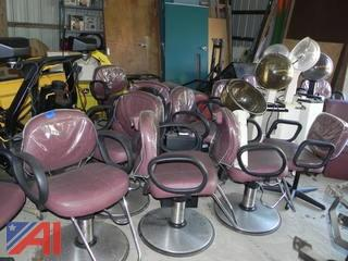 UPDATED...(11) Belvedere Salon Chairs and (6) Portable Professional Hair Driers
