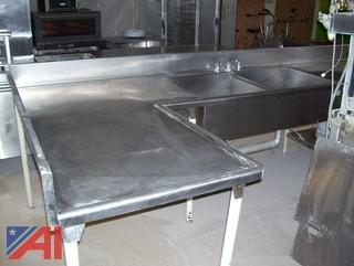 11' Long Stainless Steel Double Sink Counter With A 5' L Shaped Counter