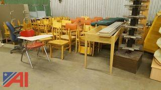 Lot of Student Chairs, Literature Racks and More
