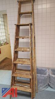 Lot of Wooden Step Ladders