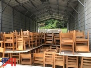 (25) Solid Oak Chairs 18 x 18 x 32
