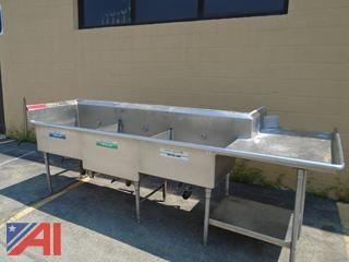 "Commercial Stainless Steel ""L' Shape Triple Sink"