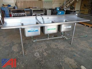 Commercial Stainless Steel Triple Sink