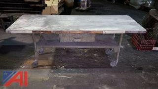 Wood Table with Metal Legs And Casters