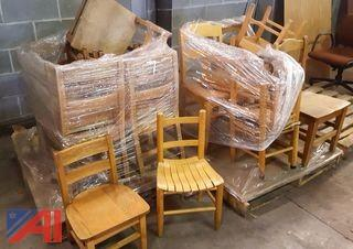 Lot of Wooden Student Chairs
