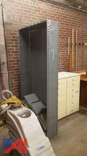 Metal Shelving Units and Filing Cabinet