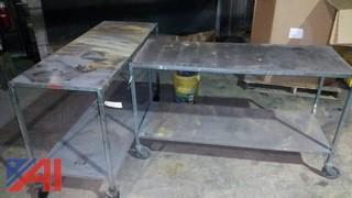 (2) Steel Work Tables on Wheels