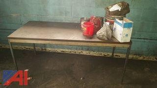 Steel Table with Wood Formica Top