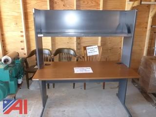 Metal Office Desk with Laminated Top and Metal Shelf