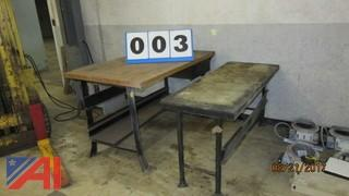 "(2) Heavy Duty Work Benches-24""x60"" and 36 1/2"" x 60"""