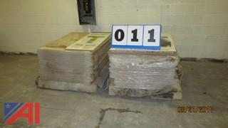 (2) Pallets of Printed One Side Particle Boards for Construction.