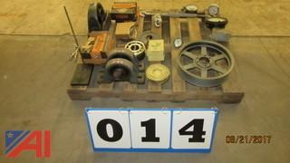 Assortment of Large Bearings, Large Pillow Blocks, Pulleys and Gauges.