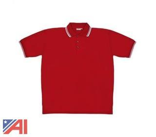 (100) Men's Red Knit Pullover Golf Polo Shirts