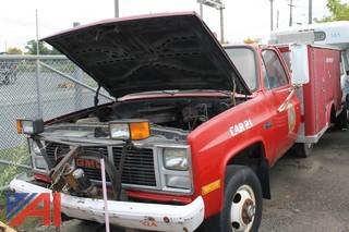 1988 GMC V3500 Truck with Utility Box with Plow