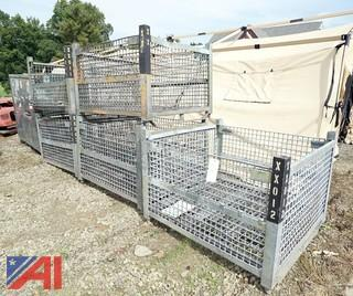 5) Industrial Galvanized Stackable Pallet Crates