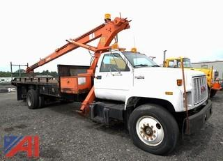 1991 GMC Topkick Flatbed Crane Truck