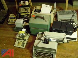Lot of typewriters and calculators