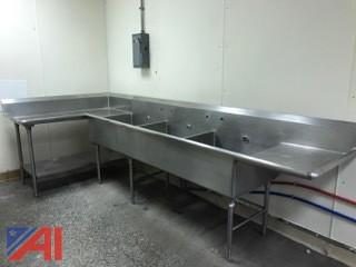 Stainless Steel Counter with 3 bay sink