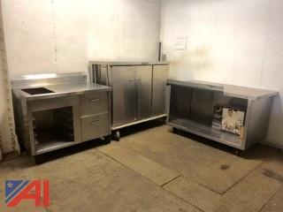 Stainless Steel Prep Tables and Food/dish Cart