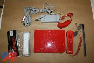 Red Wii Gaming Console with (2) Remotes