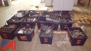 (20) Bins of Assorted Hand Held Radios, Holsters and Chargers