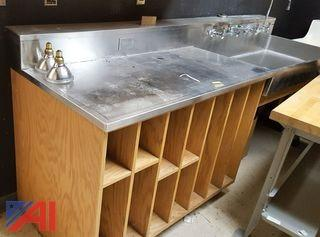 Stainless Steel Sink with Counter and Storage