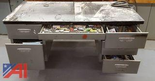 Metal Desk & Contents