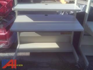 (3) Printer Tables and (1) Wooden Desk