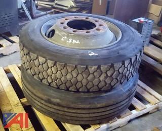 (2) Tires on Rims 245/75R22.5