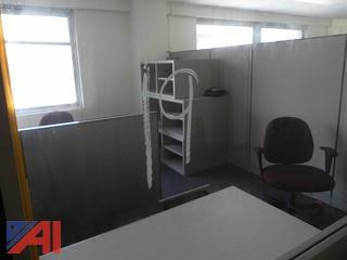 (#19) Office Cubicles, Open Cabinets, (9) Chairs, File Cabinets