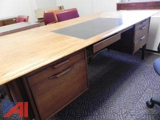(#25) (1) Desk, (1) Table, (1) Credenza and (8) Chairs
