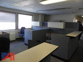 (#45) Office Cubicles, (2) Tables, (6) Chairs and (3) File Cabinets