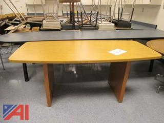 Wooden Conference Table and Cabinet